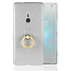 Luxury Soft TPU Glitter Back Ring Cover with 360 Rotate Finger Holder Buckle for Sony Xperia XZ2 - White