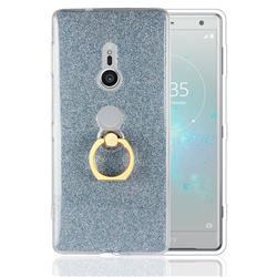 Luxury Soft TPU Glitter Back Ring Cover with 360 Rotate Finger Holder Buckle for Sony Xperia XZ2 - Blue