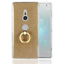 Luxury Soft TPU Glitter Back Ring Cover with 360 Rotate Finger Holder Buckle for Sony Xperia XZ2 - Golden