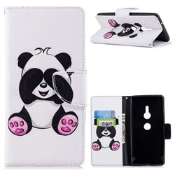 Lovely Panda Leather Wallet Case for Sony Xperia XZ2