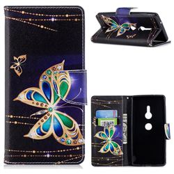 Golden Shining Butterfly Leather Wallet Case for Sony Xperia XZ2