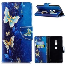 Golden Butterflies Leather Wallet Case for Sony Xperia XZ2