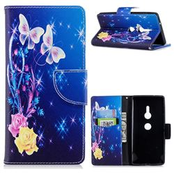 Yellow Flower Butterfly Leather Wallet Case for Sony Xperia XZ2