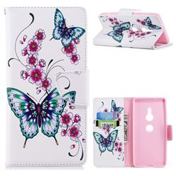 Peach Butterflies Leather Wallet Case for Sony Xperia XZ2