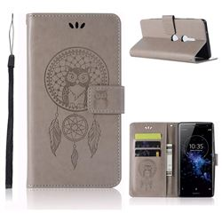Intricate Embossing Owl Campanula Leather Wallet Case for Sony Xperia XZ2 - Grey