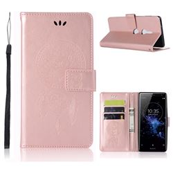Intricate Embossing Owl Campanula Leather Wallet Case for Sony Xperia XZ2 - Rose Gold