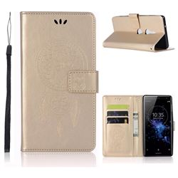 Intricate Embossing Owl Campanula Leather Wallet Case for Sony Xperia XZ2 - Champagne