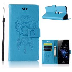 Intricate Embossing Owl Campanula Leather Wallet Case for Sony Xperia XZ2 - Blue