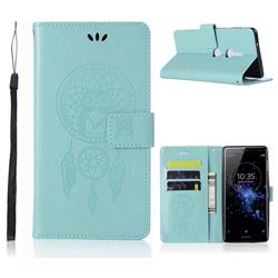Intricate Embossing Owl Campanula Leather Wallet Case for Sony Xperia XZ2 - Green