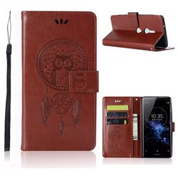 Intricate Embossing Owl Campanula Leather Wallet Case for Sony Xperia XZ2 - Brown