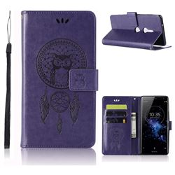 Intricate Embossing Owl Campanula Leather Wallet Case for Sony Xperia XZ2 - Purple