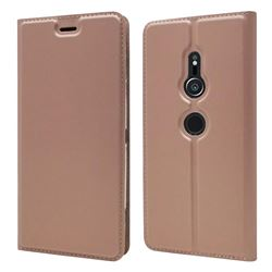 Ultra Slim Card Magnetic Automatic Suction Leather Wallet Case for Sony Xperia XZ2 - Rose Gold