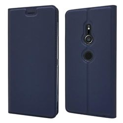 Ultra Slim Card Magnetic Automatic Suction Leather Wallet Case for Sony Xperia XZ2 - Royal Blue