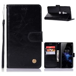 Luxury Retro Leather Wallet Case for Sony Xperia XZ2 - Black