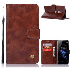Luxury Retro Leather Wallet Case for Sony Xperia XZ2 - Brown
