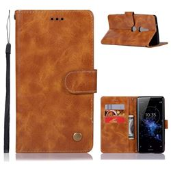 Luxury Retro Leather Wallet Case for Sony Xperia XZ2 - Golden