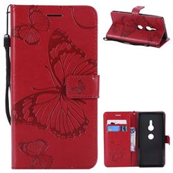 Embossing 3D Butterfly Leather Wallet Case for Sony Xperia XZ2 - Red
