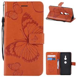 Embossing 3D Butterfly Leather Wallet Case for Sony Xperia XZ2 - Orange