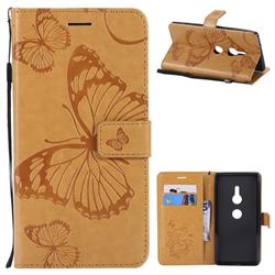 Embossing 3D Butterfly Leather Wallet Case for Sony Xperia XZ2 - Yellow