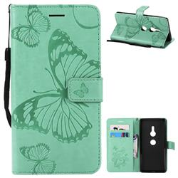 Embossing 3D Butterfly Leather Wallet Case for Sony Xperia XZ2 - Green