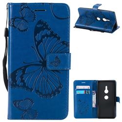 Embossing 3D Butterfly Leather Wallet Case for Sony Xperia XZ2 - Blue