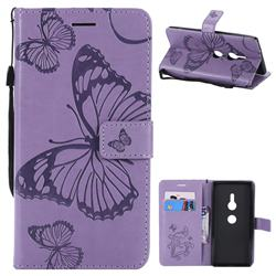 Embossing 3D Butterfly Leather Wallet Case for Sony Xperia XZ2 - Purple
