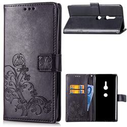 Embossing Imprint Four-Leaf Clover Leather Wallet Case for Sony Xperia XZ2 - Black