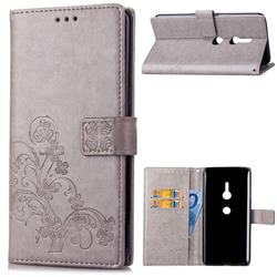 Embossing Imprint Four-Leaf Clover Leather Wallet Case for Sony Xperia XZ2 - Grey