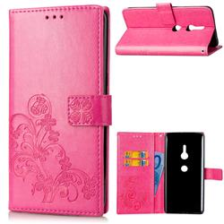 Embossing Imprint Four-Leaf Clover Leather Wallet Case for Sony Xperia XZ2 - Rose