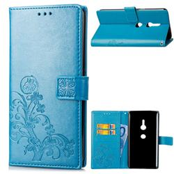 Embossing Imprint Four-Leaf Clover Leather Wallet Case for Sony Xperia XZ2 - Blue