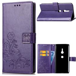 Embossing Imprint Four-Leaf Clover Leather Wallet Case for Sony Xperia XZ2 - Purple