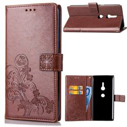 Embossing Imprint Four-Leaf Clover Leather Wallet Case for Sony Xperia XZ2 - Brown