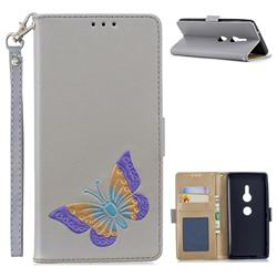 Imprint Embossing Butterfly Leather Wallet Case for Sony Xperia XZ2 - Grey
