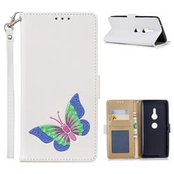 Imprint Embossing Butterfly Leather Wallet Case for Sony Xperia XZ2 - White