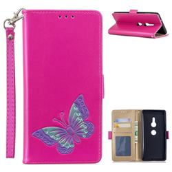 Imprint Embossing Butterfly Leather Wallet Case for Sony Xperia XZ2 - Rose Red