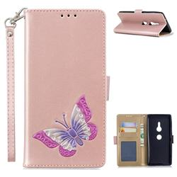 Imprint Embossing Butterfly Leather Wallet Case for Sony Xperia XZ2 - Rose Gold