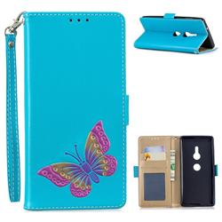 Imprint Embossing Butterfly Leather Wallet Case for Sony Xperia XZ2 - Sky Blue
