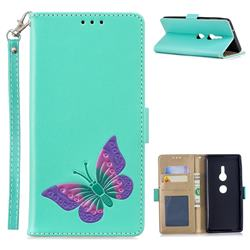 Imprint Embossing Butterfly Leather Wallet Case for Sony Xperia XZ2 - Mint Green
