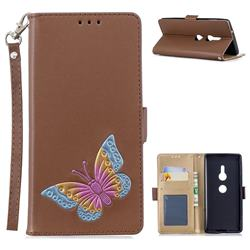 Imprint Embossing Butterfly Leather Wallet Case for Sony Xperia XZ2 - Brown