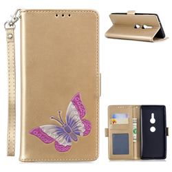 Imprint Embossing Butterfly Leather Wallet Case for Sony Xperia XZ2 - Golden