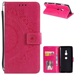 Intricate Embossing Datura Leather Wallet Case for Sony Xperia XZ2 - Rose Red