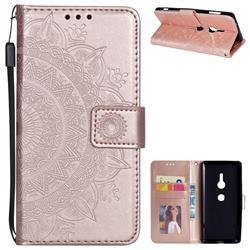 Intricate Embossing Datura Leather Wallet Case for Sony Xperia XZ2 - Rose Gold