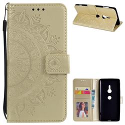 Intricate Embossing Datura Leather Wallet Case for Sony Xperia XZ2 - Golden