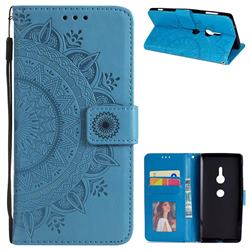 Intricate Embossing Datura Leather Wallet Case for Sony Xperia XZ2 - Blue