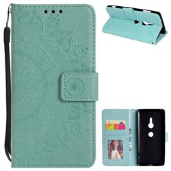Intricate Embossing Datura Leather Wallet Case for Sony Xperia XZ2 - Mint Green