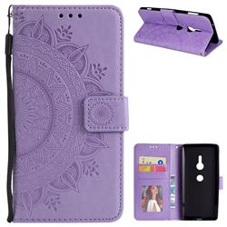 Intricate Embossing Datura Leather Wallet Case for Sony Xperia XZ2 - Purple
