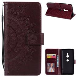 Intricate Embossing Datura Leather Wallet Case for Sony Xperia XZ2 - Brown