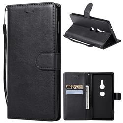 Retro Greek Classic Smooth PU Leather Wallet Phone Case for Sony Xperia XZ2 - Black