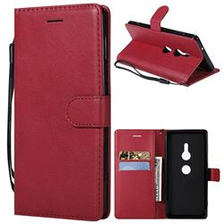 Retro Greek Classic Smooth PU Leather Wallet Phone Case for Sony Xperia XZ2 - Red
