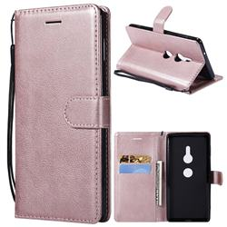 Retro Greek Classic Smooth PU Leather Wallet Phone Case for Sony Xperia XZ2 - Rose Gold